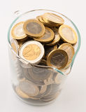 Glass jar full of coins Royalty Free Stock Image