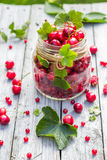 Glass jar full fruits cherries currants Royalty Free Stock Photos