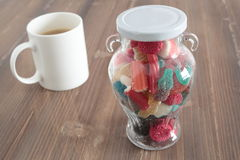 Glass jar full of goodies Royalty Free Stock Images