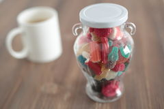 Glass jar full of goodies Royalty Free Stock Image
