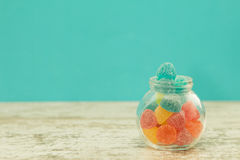 Glass jar full of jelly beans Stock Image