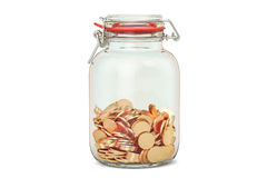 Glass jar with golden coins, 3D rendering. On white background Stock Image