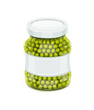 Glass jar with greeen peas