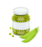 Glass jar with green peas and pods Stock Photography