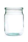 Glass jar half liter empty. Glass jar half liter empty on a white background Stock Photo