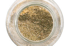 Glass jar with herbs Royalty Free Stock Image