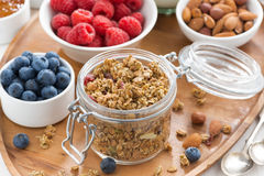 Glass jar with homemade granola and berries Stock Photos