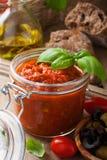 Glass jar with homemade tomato pasta sauce Stock Photo