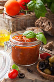 Glass jar with homemade tomato pasta sauce Stock Photo
