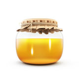 Glass jar of honey isolated on white background. 3d. Stock Image