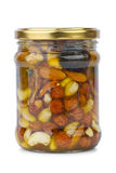 Glass jar with honey, nuts and figs Royalty Free Stock Photography