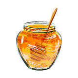 Glass jar of honey with wooden dipper Royalty Free Stock Photo