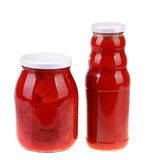 Glass jar of hot tomato sauce Stock Photo