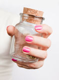 Glass Jar In A Hand Stock Image