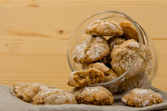 Glass jar with Italian cookies amaretti dropped out 3 Royalty Free Stock Image