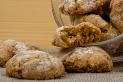 Glass jar with Italian cookies amaretti dropped out 2 Royalty Free Stock Image