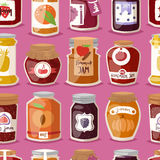 Glass jar with with jam configure or honey vector illustration packaging seamless pattern. Royalty Free Stock Photography
