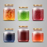 Glass jar with with jam and fruit marmalade vector set Royalty Free Stock Photo