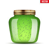 Glass Jar with kiwi jam. Stock Photography