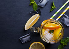 Glass jar with lemonade, top view Royalty Free Stock Image