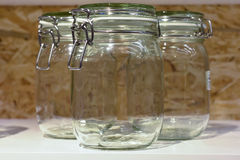 A glass jar with a lid Stock Photos