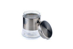 Glass jar with lid for sugar, salt and else on white Stock Image