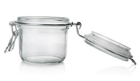 Glass jar with lid. On a white background royalty free stock photography