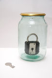 Glass jar with lock Royalty Free Stock Images