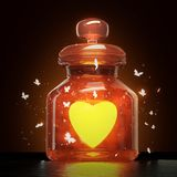 Glass jar with magic shining heart and butterflies flying around it on dark background, valentines day romance love. Concept 3d render vector illustration