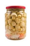 glass jar marinaded champinjoner Arkivfoton