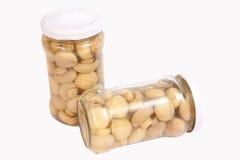 glass jar marinaded champinjoner Arkivfoto
