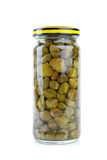 Glass jar with marinated capers Stock Images