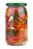 Glass jar with marinated tomatoes Stock Photography