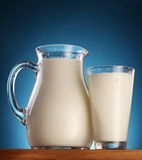 Glass and jar of milk. photo. Stock Image