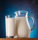 Glass and jar of milk. photo. Stock Photo