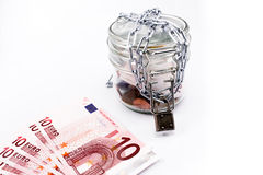 Glass jar money and euro Royalty Free Stock Image