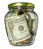 Glass jar with money Royalty Free Stock Image
