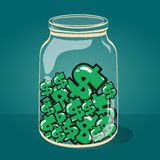 Glass jar with money vector EPS-10. Stock Image