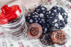 Glass Jar, Neddle Case and Buttons Stock Photos
