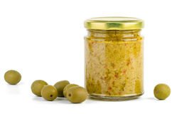 Glass jar with olive spread Stock Image
