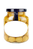 Glass jar of olives Stock Photos