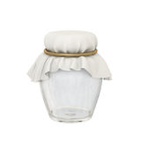 Glass jar and  oval cloth shape tied with a golden rope Stock Photography