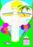 Sensations stored in a glass jar. Glass jar with perfume set with tropical scent of exotic flowers, palm trees, sea breeze, islands lost in the ocean vector illustration