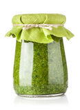 Glass jar of pesto sauce Stock Photos
