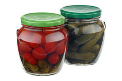 Pickled cucumbers and tomatoes Royalty Free Stock Photo