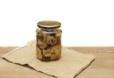 Glass jar of pickled mushrooms Stock Images