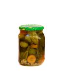 Glass jar with pickled vegetables Royalty Free Stock Photos