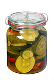 Glass jar with pickled zucchini Stock Photography