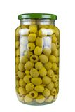 Glass jar with pitted green olives Royalty Free Stock Images