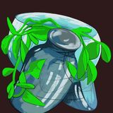 Glass jar pot with a flower abstract illustration royalty free stock images